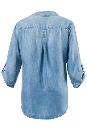 GINA_LAURA Damen Jeans-Tunika | Lässige Passform mit Wasch-Effekten | Hemdkragen | Brusttaschen | 3/4-Ärmel | bis Größe XXXL 182300 Blue Denim