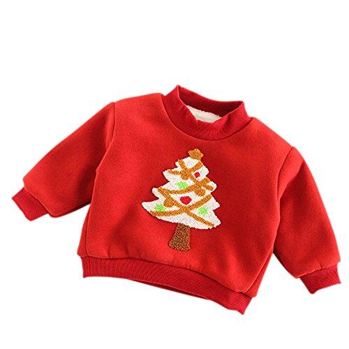 Niños niñas de Navidad sudadera Otoño Invierno Abrigo grueso por wongfon rojo...