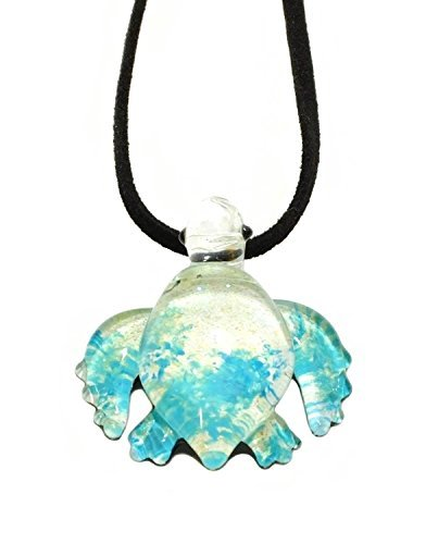 Handgefertigt Sky Blue Sea Turtle Art Glas geblasen Sea Tier Figur Anhänger Halskette Schmuck–Modell y2016