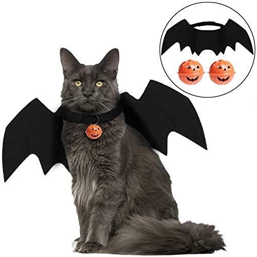 Halloween Kostüm Katze, Bageek Halloween Haustierkostüm Fledermausflügel Cosplay Hund Katze Kostüm mit 2 - Katze Cosplay Kostüm
