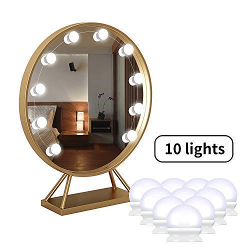 Led Spiegelleuchte, Hollywood Stil 10 Dimmbar Schminklicht 7000K Make Up Licht, BBeauty Schminktisch Leuchte, Schminkleuchte, Spiegellampe für Kosmetikspiegel, Schminktisch/Badzimmer Spiegel