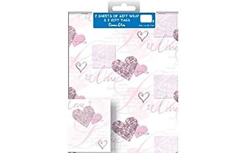 2x 2Stück Geschenkpapier und Geschenkanhänger–insgesamt 4Blatt Geschenkpapier von Qualität und 4Tags (Christmas Ribbon Clearance)