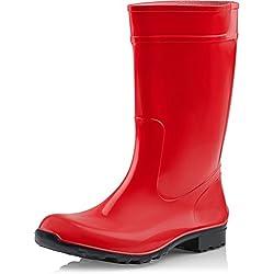 Ladeheid Botas de Agua Antideslizantes en PVC Mujer LA-967 (Rojo/Negro, 38)