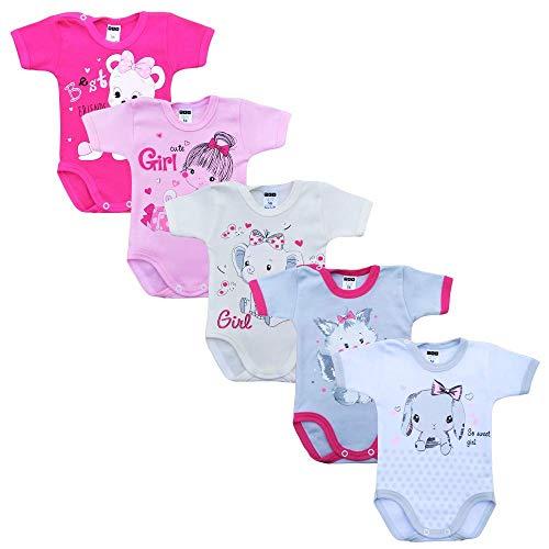 MEA BABY Unisex Baby Kurzarm-Body mit Aufdruck aus 100% Baumwolle im 5er Pack, Baby Body mit Aufdruck, Baby Body für Madchen, Baby Body für Jungen (Mädchen, 74) -