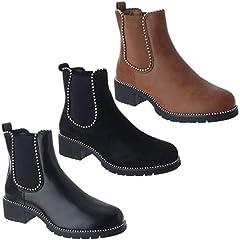 18da7f52e5d New ladies womens mid heel block platform biker ankle chelsea boots ...