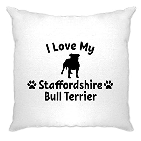 I Love My Staffordshire Bull Terrier Dog Lover Cute Silouhette Breed Owner Pet Animal Companion Hound Paw Canine Cushion Cover Sofa Home Cool Birthday Gift Present