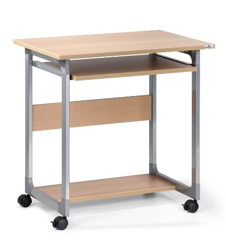 Durable 3796124 System Computer Trolley 75 FH, metallic silber / buche metallic silber / buche