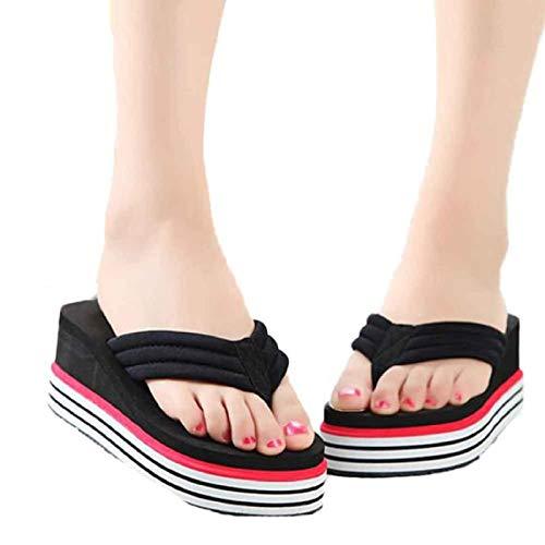WWricotta Women Summer Sandals Slipper Indoor Outdoor Flip-Flops Beach Shoes BK 39 -