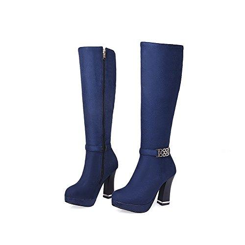 AgooLar Damen Hoher Absatz Mitte-Spitze Rein Reißverschluss Stiefel mit Metalldekoration, Blau, 37