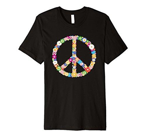 Hippie Peace Zeichen T-Shirt Flower Vintage Hippie-Symbol Tee