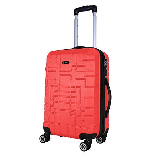 Shaik® Serie XANO HKG Design Hartschalen Trolley, Koffer, Reisekoffer, in 3 Größen M/L / XL/Set 50/80/120 Liter, 4 Doppelrollen, TSA Schloss (Handgepäck M, Rot)