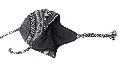 Alpacaandmore Unisex Chullo Mütze Strickmütze Alpakawolle dick gestrickt grau mit Vlies gefüttert Inka Muster Einheitsgröße (Strickmütze Chullo Alpaka)