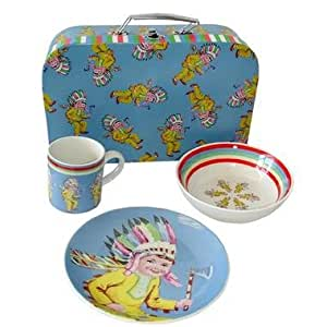 Coffret set repas porcelaine 6 pièces + Valise Enfant cadeau bébé. - Indien