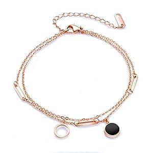 Gkmamrg Damen Fußkettchen Rose Gold Doppelkette, Edelstahl Fußkette schwarz rund Anhänger Sommer Strand FußSchmuck für Frauen Mädchen