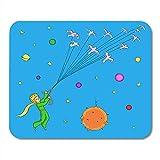 Tappetino per mouse da gioco Stelle blu Il piccolo principe Uccelli volanti Personaggi di libri biondi 25X30 cm Ufficio Antiscivolo Tappetino per mouse in gomma