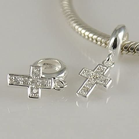 Cross - Crucifix - Christian - 925 Sterling Silver Charm Bead/ Pendant - European Style