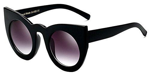 BOZEVON Damenmode Retro Party Katze Auge Stil Sonnenbrille Nette Farbe Gradation Linse Eyewear Schwarz-Grau C4