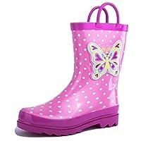 AccessoWear Girls Pink Butterfly Polka-Dot Rain Boots - Size 9 (Toddler)