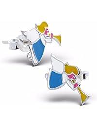 Silvadore - plata de ley 925 Juego de pendientes de tuerca para niños - diseño de hada alas dientes - broche desplegable - caja de regalo incluye