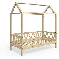 Preisvergleich für Vicco Kinderbett Hausbett Lisa 80x160cm Kinder Bett Holz Haus Schlafen Hausbett Spielbett Inkl. Lattenrost