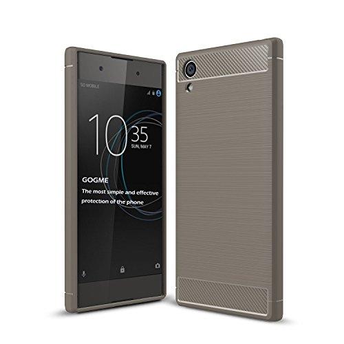 GOGME Sony Xperia XA1 Plus Hülle, Silikon TPU Schale [Carbon Fiber Series] Flexibles TPU Anti-Scratch Super Weiche Schutzhülle, Grau