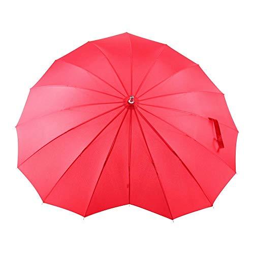 T Liste Kostüm - Quiet.T Regenschirm Rot, Forever Love Parasol Regenschirm in Herzform Rot für Mädchen, Hochzeit, Verlobung und Foto Spitzen 16 Kostüme