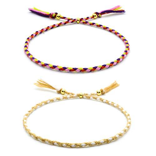 VU100 2 Freundschaft Armbänder für Frauen Mädchen Handgefertigt Geflochten Wickelarmband Multicolor Woven Dünn Saiten