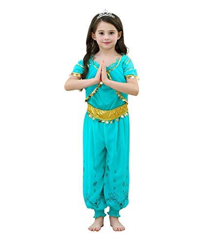 Parade Kostüm Of Festival Fantasy - Le SSara Mädchen Prinzessin Jasmin Dress Up Kostüme Halloween arabischen Party Fancy Kleid (150, D55-Green)