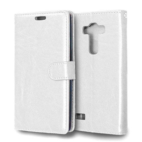MOONCASE Hülle für LG G4 Beat Leder Schutzhülle Case Tasche Flip Schale Etui Hülle Cover Weiß - Weiß Beats Bling