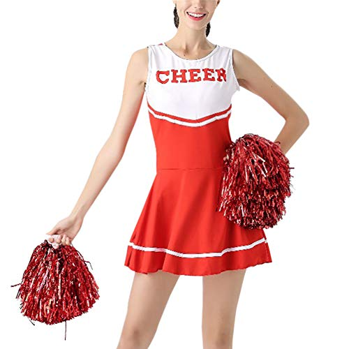 Yudesun Musical Bühne Tanzkleidung Damen - Mädchen High School Sport Cheerleader Uniform Tanzen Kostüm Fancy Dress Performance Party Ballsaal Halloween mit Pom Poms (High School Musical-halloween-kostüme Für Erwachsene)
