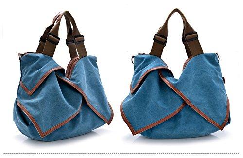 Handtasche und Schultertasche Canvas Arbeit Blau Damen täglich Lässige Schule MoliMode Damen E0nBqw05F