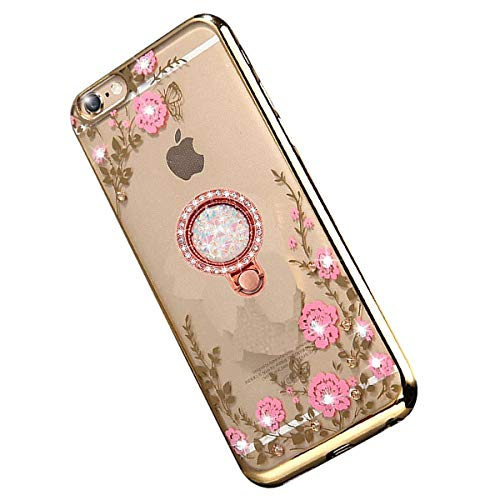 """Miagon Glitzer Durchsichtig Transparent Blumen Schmetterling Galvanik Silikon Hülle mit 360 Grad Diamant Ring Ständer Strass Schutzhülle für iPhone Xs Max 6.5"""""""