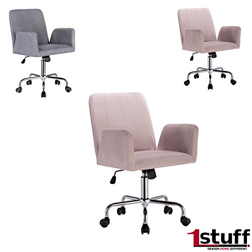 SALE! Retro Bürostuhl METRO von 1stuff - Drehstuhl mit hochwertigem Leinen Bezug - Retrostuhl Drehsessel, Chefsessel, Schreibtischstuhl, Retrosessel - einstellbare Wippfunktion nach hinten - höhenverstellbar und 360 Grad drehbar - Gasdruckfeder nach DIN EN4550 - bis 130kg und 46cm breite Sitzfläche (beige, Leinen / Rollen)