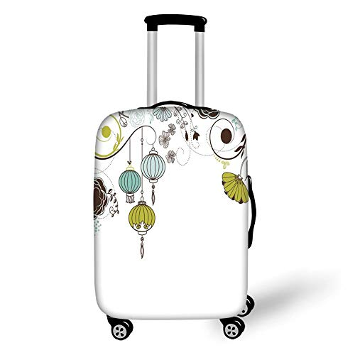 Travel Luggage Cover Suitcase Protector,Lantern,Abstract Expression of Coming of New Year in China Vibrant Colors,Apple Green Sky Blue White,for Travel M Apple Bottom Sneakers