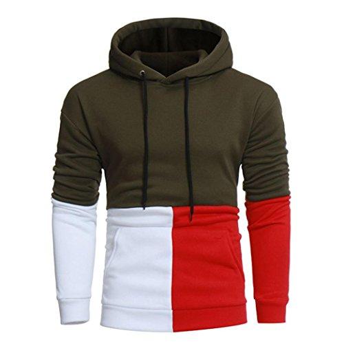 Uomo manica lunga felpa con cappuccio colore giacca outwear sport top,yanhoo® sweatshirt - felpa a manica lunga da uomo (m, verde militare)
