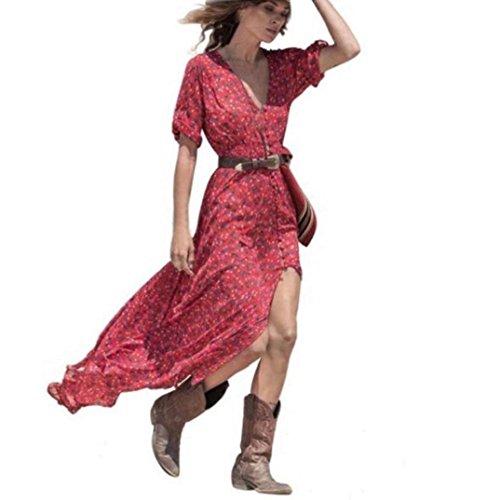 Vestido Para Mujer, K-youth® 2018 Chic Vestidos Largos Mujer Verano Boho Largo Cóctel Fiesta Vestido de mujer Atractivo Cuello en v Chiffón Vestido con aberturas Verano de playa (Rojo, S)