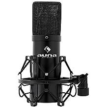 auna MIC-900B microfono a condensatore (capsula elettrete di 16mm, USB, staffa ragno inclusa, compatibile con (Condensatore Strumento Mic)