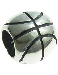 Queenberry Plata de Ley baloncesto European Style Bead Charm
