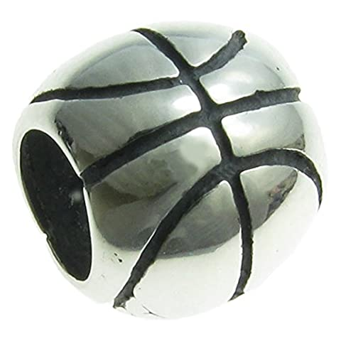 Queenberry Sterling Silver Basketball European Style Bead Charm