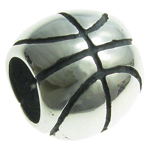 Queenberry - Charm in argento Sterling, motivo pallone da basket, stile europeo