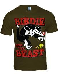 LOGOSH!RT Sylvester & Tweety Retro Comic Herren T-Shirt BIRDIE AND THE BEAST - KHAKI Gr. L (L369)