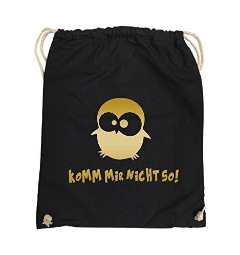 Comedy Bags - Komm mir nicht so! - EULE - Turnbeutel - 37x46cm - Farbe: Schwarz / Silber Schwarz / Gold