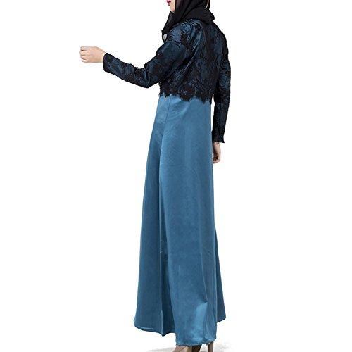 hibote islamischen langes Kleid für Frauen muslimischen Abaya in Dubai türkischen Damen-Bekleidung Blau