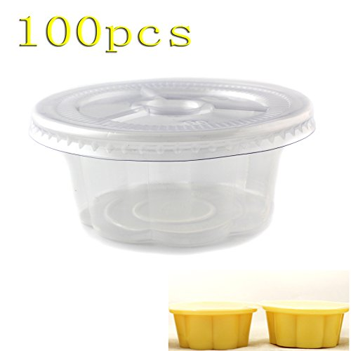 Set of 100 Plastic Salad Dressing Food Souffle Flower Portion Pot Jello Shot Glasses Cups Container with Lids, 5oz by SYM TOP