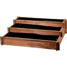Bancal de tres pisos - Perú de madera (Pino): Mesa bancal montable para verduras, hierbas, flores, flexible en su colocación, marrón, 110x 88x 36cm, 58180FSC.