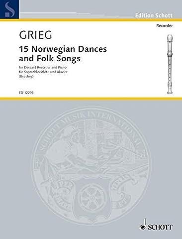15 Norwegian Dances and Folk Songs - flûte à bec soprano et piano - ED 12293