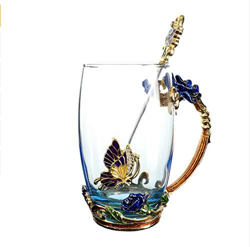 Blue Rose Enamel Crystal Cup Flower Tea Glass High-grade Glass Water Cup Flower Mug With Handgrip Perfect Gift For Lover Wedding B Blue Rose Cup