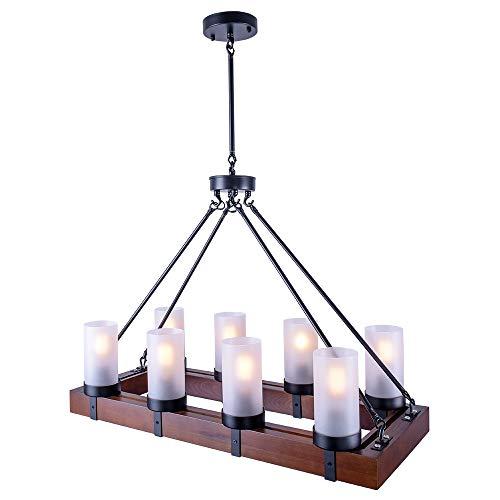 Lingkai Techo de la lámpara de la vendimia Retro Lámparas de madera Rústico Luz colgante Luminaria Casa de campo Cocina Isla Iluminación Lámpara colgante de madera Edison E27