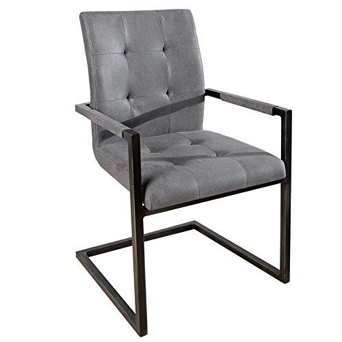 Design Freischwinger Stuhl OXFORD mit Armlehne Antik Grau Vintage Gestell Eisen Schwarz Armlehnenstuhl Freischwingerstuhl Esszimmerstuhl Esszimmer
