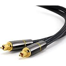CSL – Cavo Platinum toslink da 1,5m (metri) HQ Platinum (ottico / digitale) | connettore toslink | cavo in fibra ottica | connettore HQ in metallo con contatti dorati | home entertainment / HiFi / console